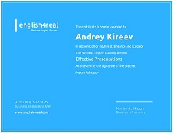 Certificate - Business English Training